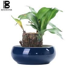 creative simple ceramic blue glaze narcissus hydroponics flower pot garden planters office desktop fish tank flowerpot