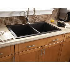 Composite Granite Kitchen Sinks Glacier Bay Dual Mount Composite 33 In 3 Hole Double Basin