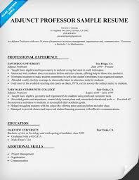 Adjunct Professor Sample Resume Resume Builder.