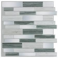 l stick mosaics mosaics grey mist linear composite wall tile common 10 in x