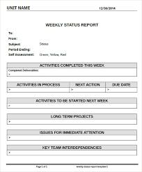 Weekly Project Status Report Sample Sample Weekly Project Status Report Template Tirevi