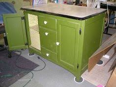 Vintage Enamel Top Cabinet Retro Green Paint Bath Storage Laundry ...