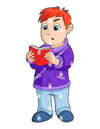 a young boy reading a small book while standing up royalty free vector ilration of a young boy holding a book with both hands looking surprised