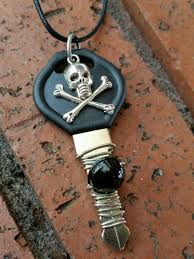 wire wrapped recycled glass pendant. Skull And Crossbones Embellished Recycled Key Pendant Wrapped With Wire Black Glass Beads O