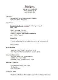 Resume Examples For High School Students In The Same Places As