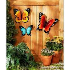 Among the best suggestions of outdoor wall décor ideas, we present you with a different choice, namely this intricate garden decoration piece. Wall Art Indoor Outdoor Metal Wall Decor Butterfly Set Of 3 Walmart Com Walmart Com