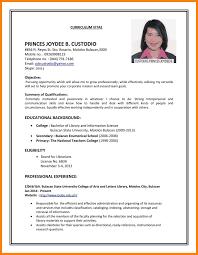 Biodata Format For Job Pdf Format Of A Resume For Job Application