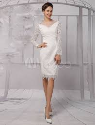 lace illusion neckline long sleeves knee length sheath wedding