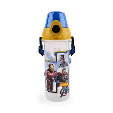 kidztime x children kids toddler bpa free cartoon character water bottle with push botton cap