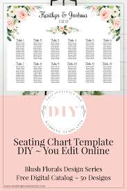 Free Digital Seating Chart Wedding Seating Chart Poster Landscape 24x18 Blush Florals