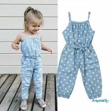<b>Kids</b> Infant Baby <b>Girl Wave</b> Point Bib Jeans Rompers Ouifit <b>Summer</b> ...