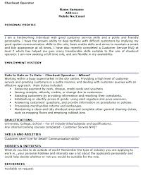 cv work history examples checkout operator cv example learnist org