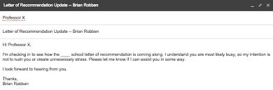 Letter of re mendation update