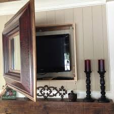 diy mirror box to hide mounted tv did the same to hide an inside