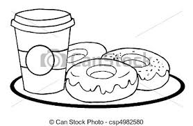 Small Picture Vector Clipart of Coffee Cup With Donuts Coloring Page Outline