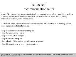 How To Write A Recommendation Letter For Employee Sales Rep Recommendation Letter
