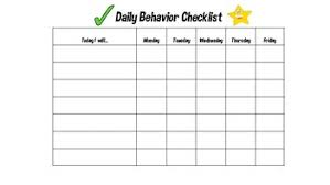 Daily Checklist Chart Daily Behavior Checklist