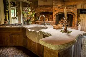 rustic kitchen with farmhouse sink limestone counters in design of regarding countertops plans 24