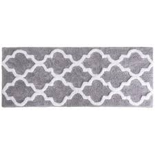 Lavish Home Trellis Silver 24 In X 60 In Bathroom Mat 67 0029 S
