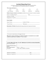 Injury Incident Report Template Amazing Report Of Incident Bino48terrainsco
