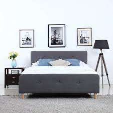 Mid Century Modern Linen Fabric Low Profile Bed Frame (Queen, Dark Grey)