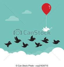 birds flying in the sky drawing. Birds Flying In The Sky And Red Balloons Concept Creative On Drawing