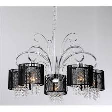 get ations 5 light black drum shade hanging crystal chandelier pendant