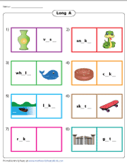 Phonics is knowing what letter (or letter combination) makes what sound and in what context. Long A Worksheets