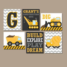 Construction Quotes Delectable CONSTRUCTION Wall Art CONSTRUCTION Trucks CANVAS Or Prints Etsy