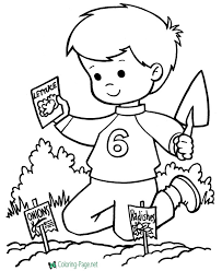 Printable Spring Coloring Pages Planting Seeds