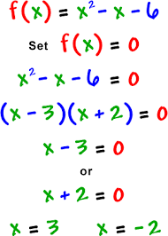 real zeros com f x x^2 x 6 set