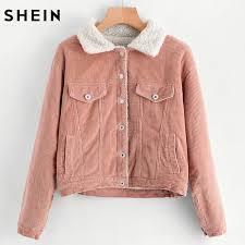 shein sherpa faux fleece lined corduroy trucker jacket casual winter jacket women pink lapel single ted jacket q1113 vintage leather jackets designer