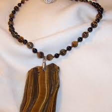 gold tigers eye slice pendant necklace