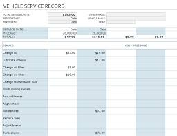 Car Service Record Template Track Vehicle Cost Of Ownership For Your Personal Car Or