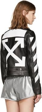 off white black leather diagonals jacket women officially authorized premier fashion designer