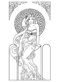 Small Picture Free coloring page coloring adult art nouveau style fire woman