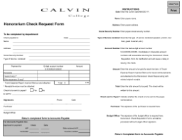 Honorarium Check Request Form E-Mail @students.calvin.edu / Instructions