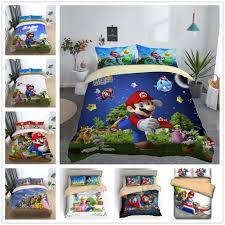 details about 3d super mario bros party kids bedding set duvet cover quilt cover pillowcase