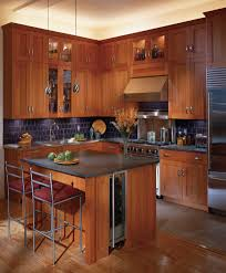Cherry Shaker Kitchen Cabinets Kitchen Cabinets In Kitchen Traditional With Black Tile Backsplash