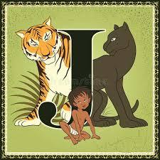 children book cartoon fairytale alphabet letter j mowgli bagheera and shere khan
