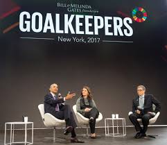 Barack Obama, Melinda Gates and Bill Gates attend the Gates Foundation  Goalkeepers event in New York - Youth Employment Decade