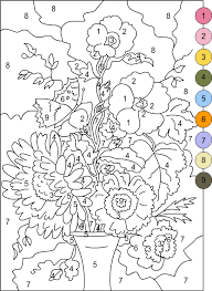 Small Picture Nicoles Free Coloring Pages COLOR BY NUMBERS FLOWERS coloring