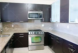 Granite Top Kitchen Modern Contemporary Style Kitchen With Granite Top Stock Photo