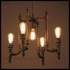 industrial pipes iron chandelier lamp living room retro bar cafe 5 lights up and down re