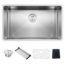 Commercial 32 Inch 16 Gauge 10 Inch Deep Undermount Single Bowl