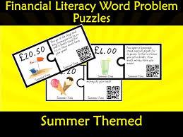 financial money literacy word problem puzzles pounds qr code