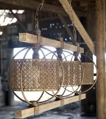 rustic rectangular metal and wood chandelier