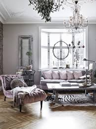 Lavender And Grey Living Room With Bay Window Tufted Chaise Lounge Chevron  Parquet Wood Floors Crystal Chandelier Black U0026 White Zebra Rug