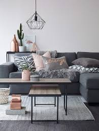 Living Room Grey Couch How To Decorate With Blush Pink Pink Accents Copper And Grey