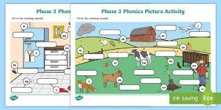 Phonetic quizzes as worksheets to print. Phase 3 Phonics Picture Activity Sheets Teacher Made